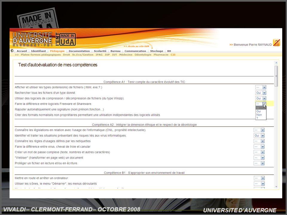 UNIVERSITE DAUVERGNE VIVALDI – CLERMONT-FERRAND – OCTOBRE 2008