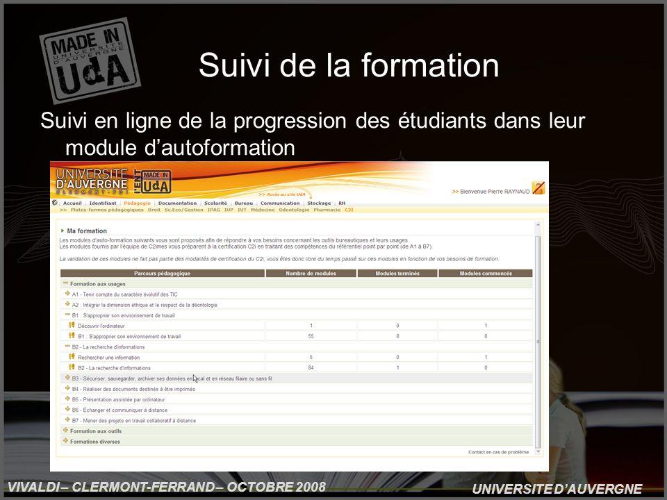 UNIVERSITE DAUVERGNE VIVALDI – CLERMONT-FERRAND – OCTOBRE 2008 Suivi de la formation Suivi en ligne de la progression des étudiants dans leur module dautoformation