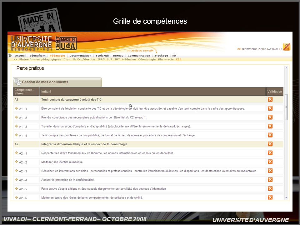 UNIVERSITE DAUVERGNE VIVALDI – CLERMONT-FERRAND – OCTOBRE 2008 Grille de compétences