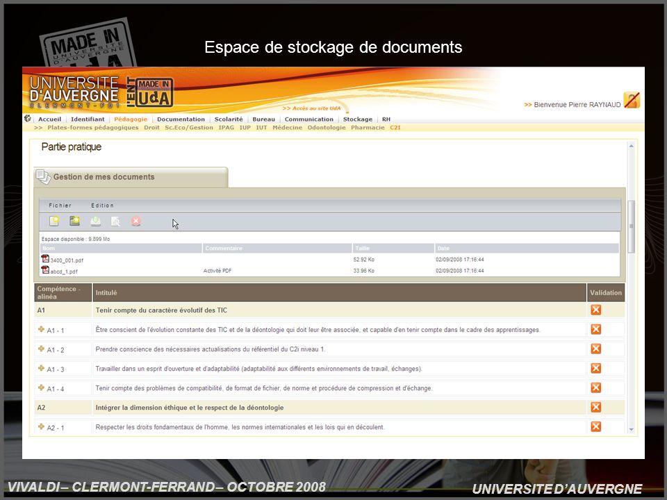 UNIVERSITE DAUVERGNE VIVALDI – CLERMONT-FERRAND – OCTOBRE 2008 Espace de stockage de documents