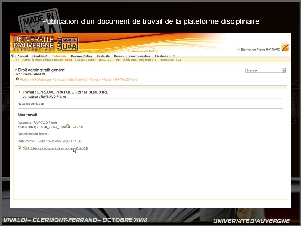 UNIVERSITE DAUVERGNE VIVALDI – CLERMONT-FERRAND – OCTOBRE 2008 Publication dun document de travail de la plateforme disciplinaire
