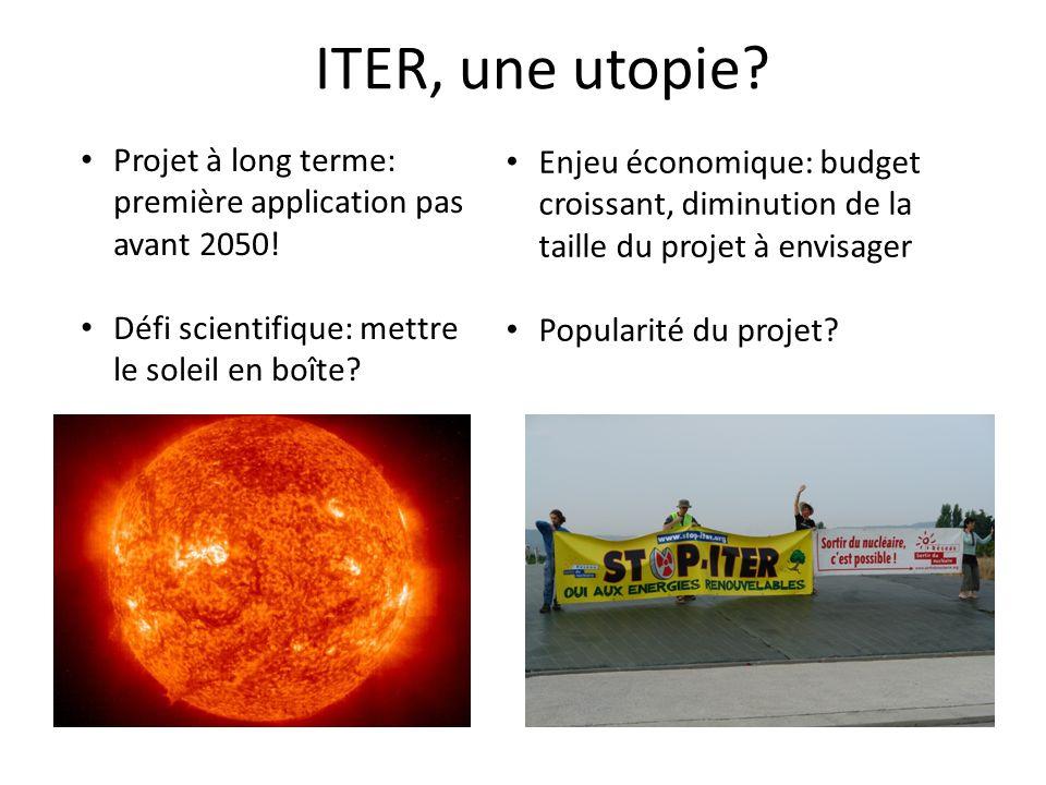 ITER, une utopie.Projet à long terme: première application pas avant 2050.