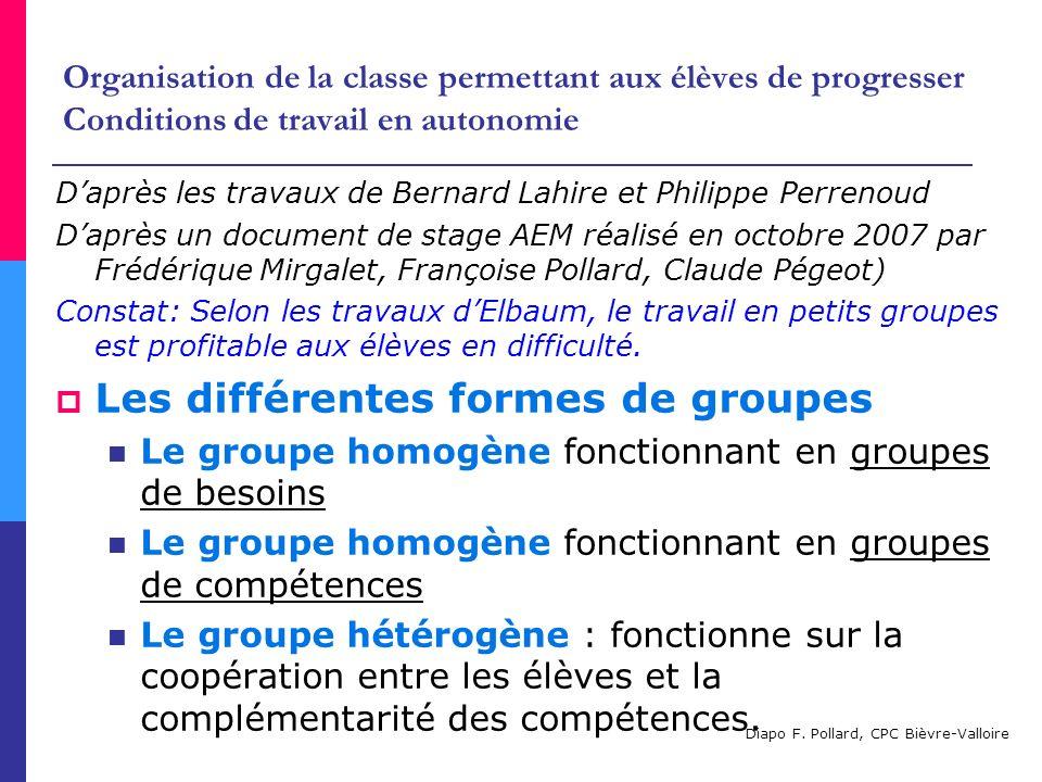 Organisation de la classe permettant aux élèves de progresser Conditions de travail en autonomie Daprès les travaux de Bernard Lahire et Philippe Perr