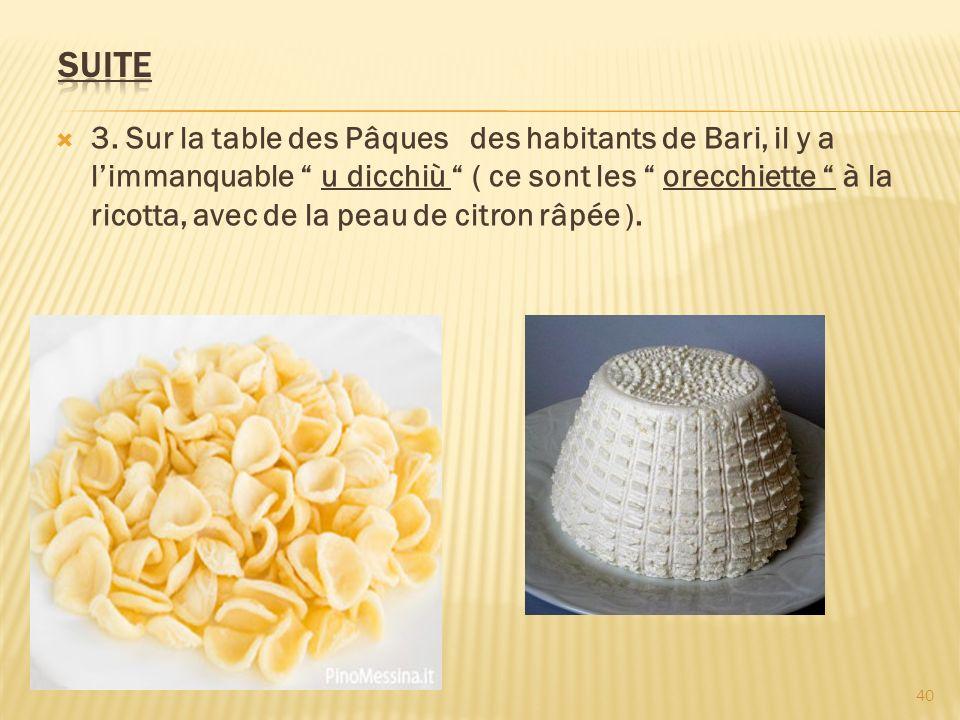 3. Sur la table des Pâques des habitants de Bari, il y a limmanquable u dicchiù ( ce sont les orecchiette à la ricotta, avec de la peau de citron râpé