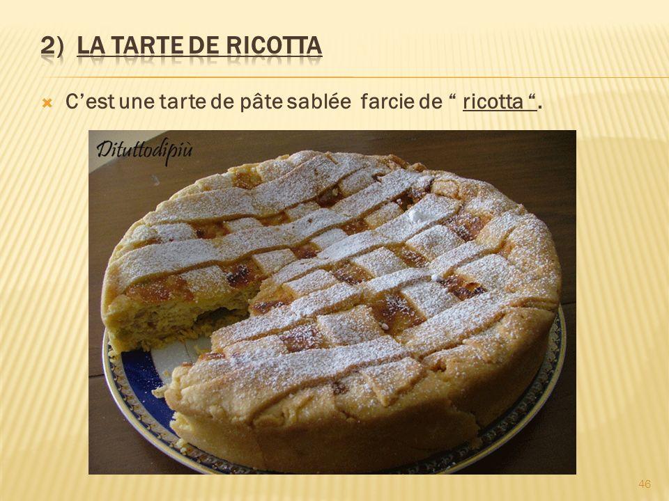 Cest une tarte de pâte sablée farcie de ricotta. 46