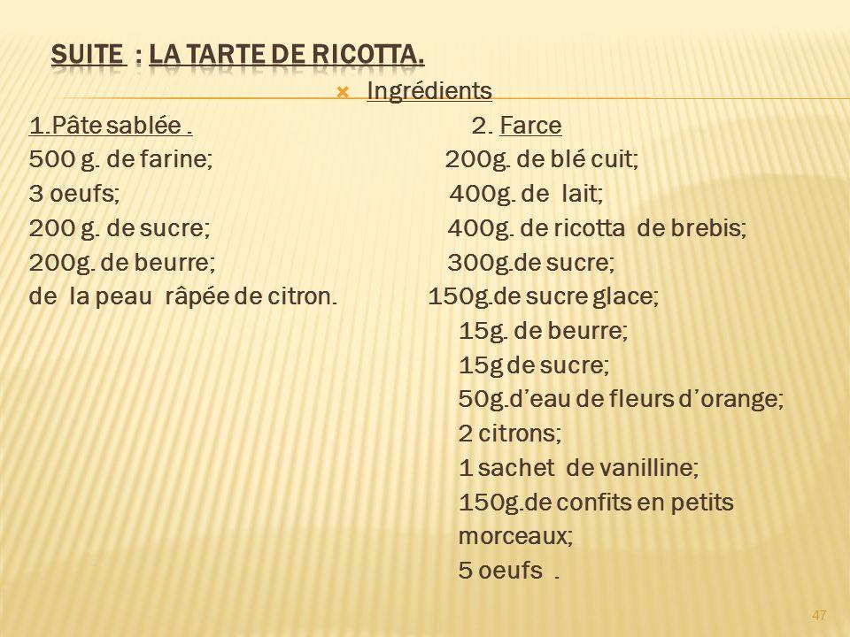 Ingrédients 1.Pâte sablée. 2. Farce 500 g. de farine; 200g. de blé cuit; 3 oeufs; 400g. de lait; 200 g. de sucre; 400g. de ricotta de brebis; 200g. de