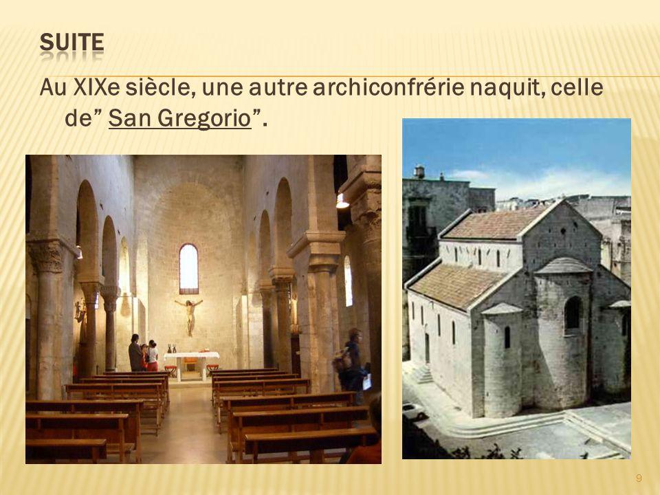Au XIXe siècle, une autre archiconfrérie naquit, celle de San Gregorio. 9