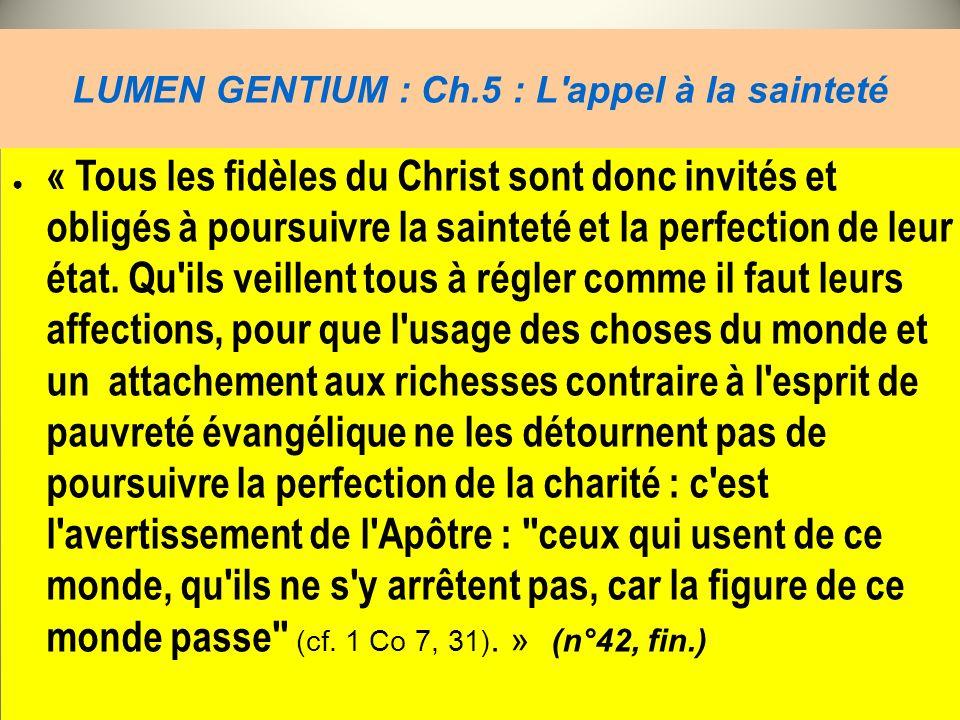 LUMEN GENTIUM : Ch.5 : L'appel à la sainteté « Tous les fidèles du Christ sont donc invités et obligés à poursuivre la sainteté et la perfection de le