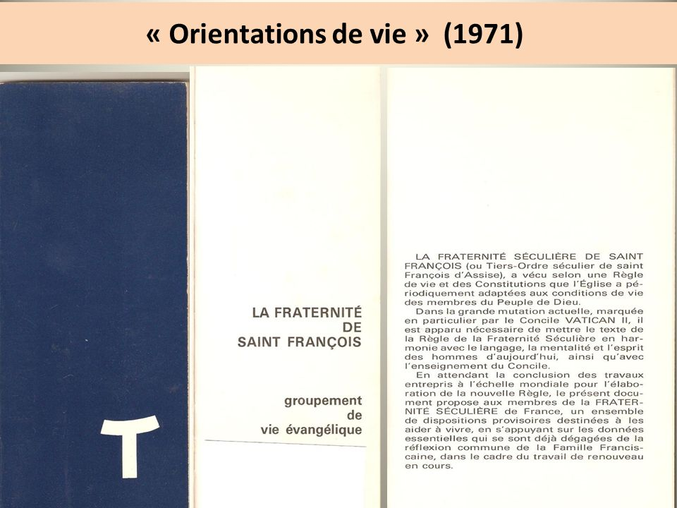 « Orientations de vie » (1971)