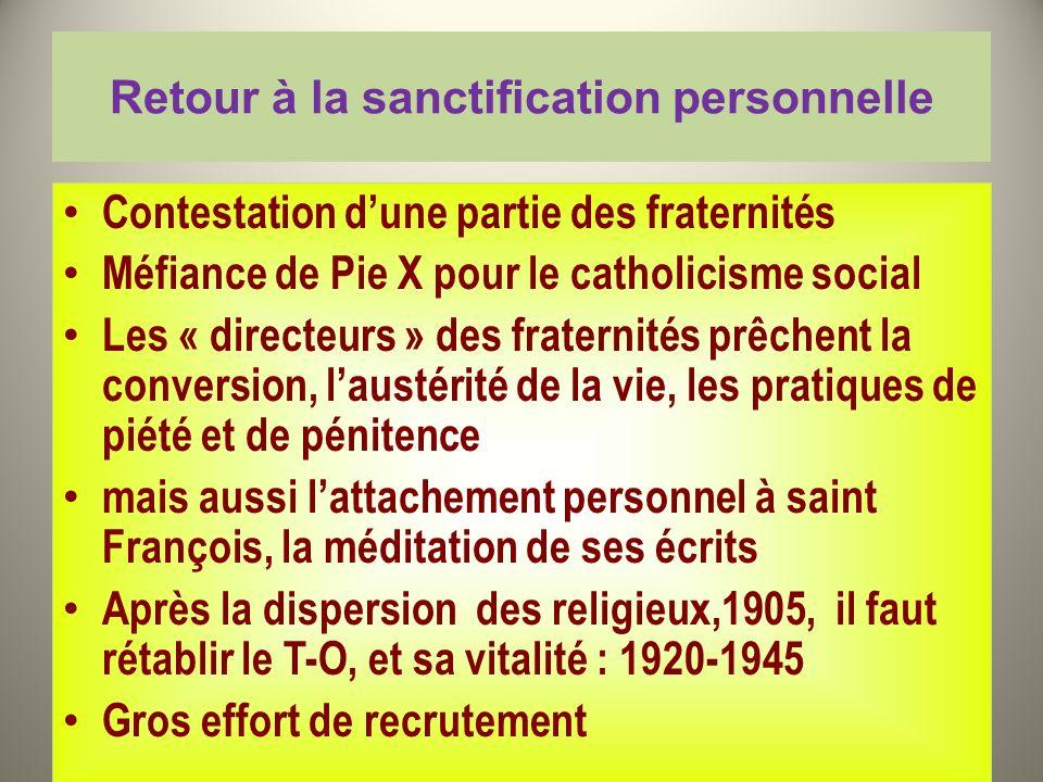 Retour à la sanctification personnelle Contestation dune partie des fraternités Méfiance de Pie X pour le catholicisme social Les « directeurs » des f