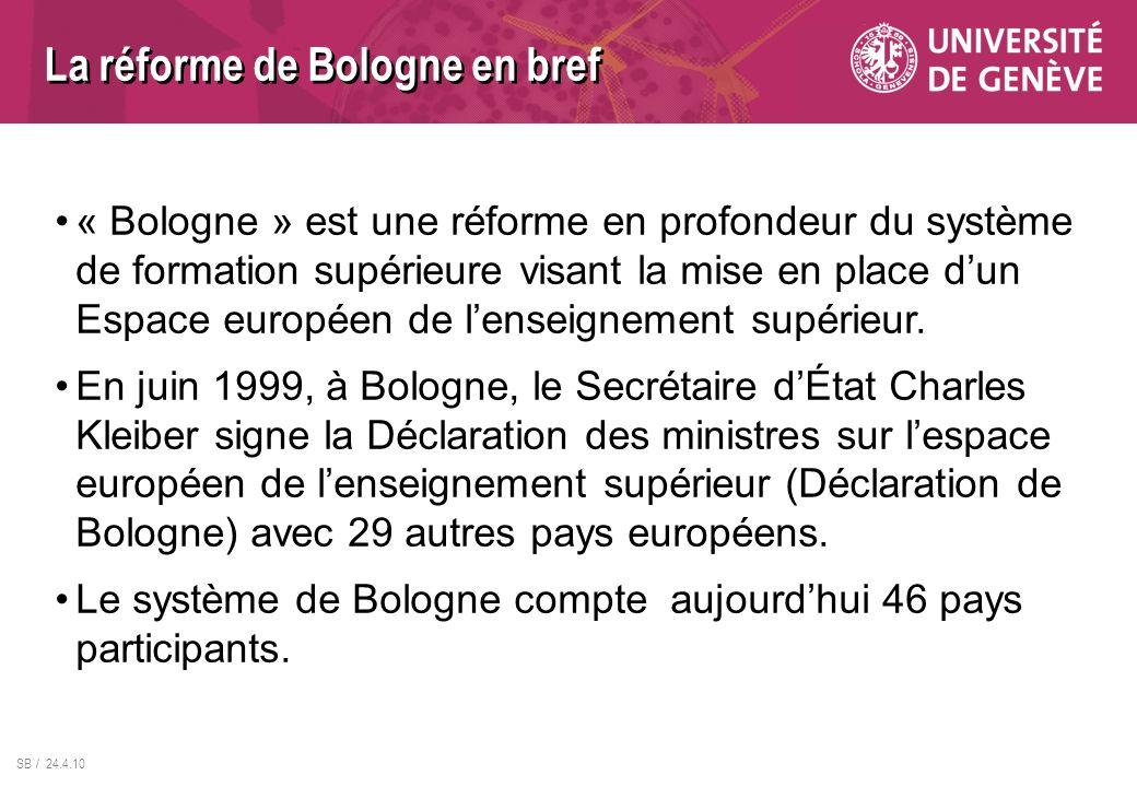La réforme de Bologne en bref « Bologne » est une réforme en profondeur du système de formation supérieure visant la mise en place dun Espace européen
