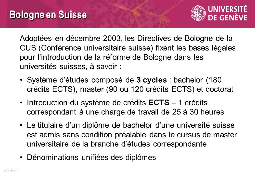 SB / 24.4.10 Bologne en Suisse Adoptées en décembre 2003, les Directives de Bologne de la CUS (Conférence universitaire suisse) fixent les bases légal
