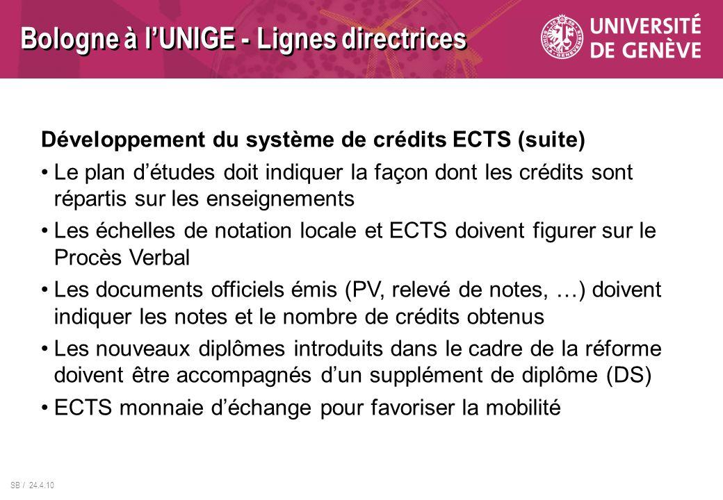 SB / 24.4.10 Développement du système de crédits ECTS (suite) Le plan détudes doit indiquer la façon dont les crédits sont répartis sur les enseigneme