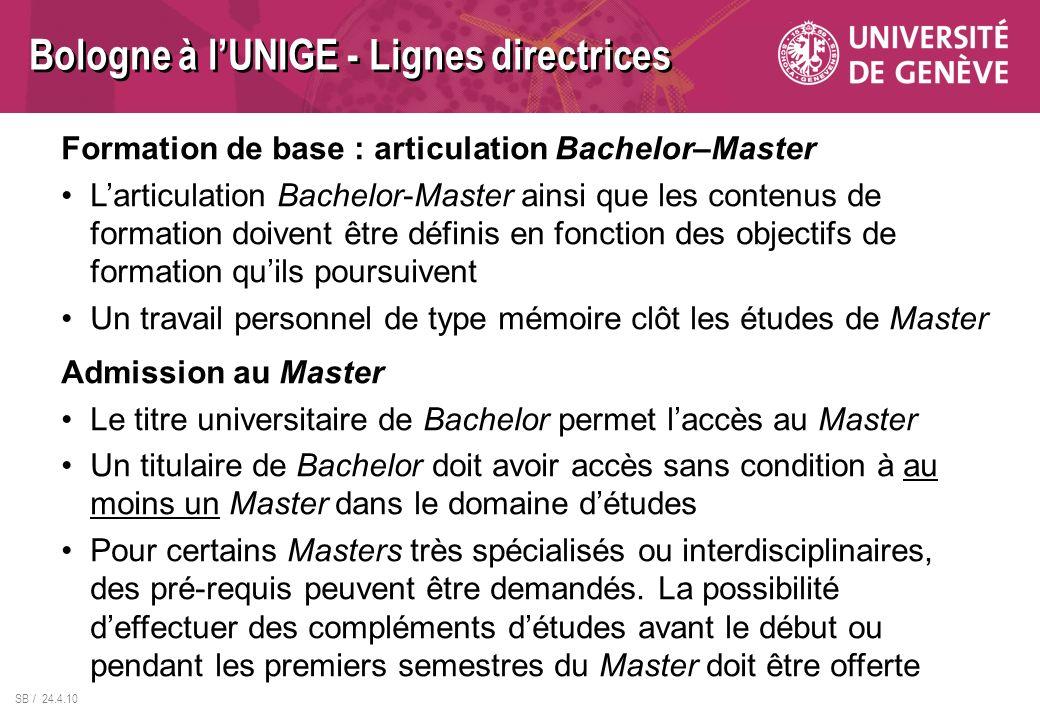 SB / 24.4.10 Formation de base : articulation Bachelor–Master Larticulation Bachelor-Master ainsi que les contenus de formation doivent être définis e