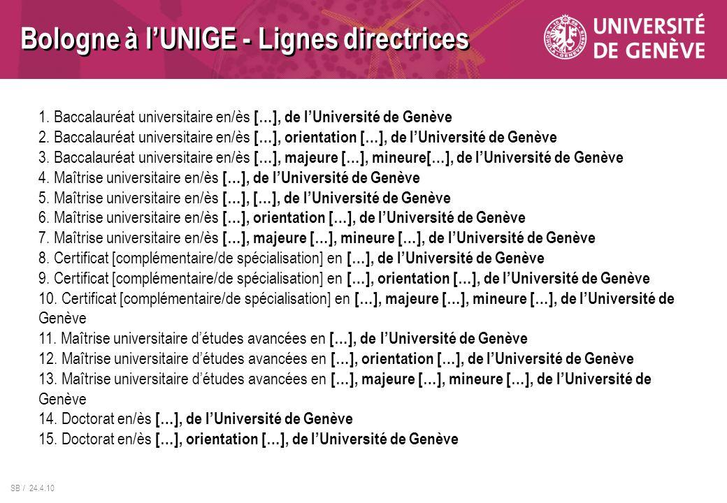 SB / 24.4.10 1. Baccalauréat universitaire en/ès […], de lUniversité de Genève 2. Baccalauréat universitaire en/ès […], orientation […], de lUniversit