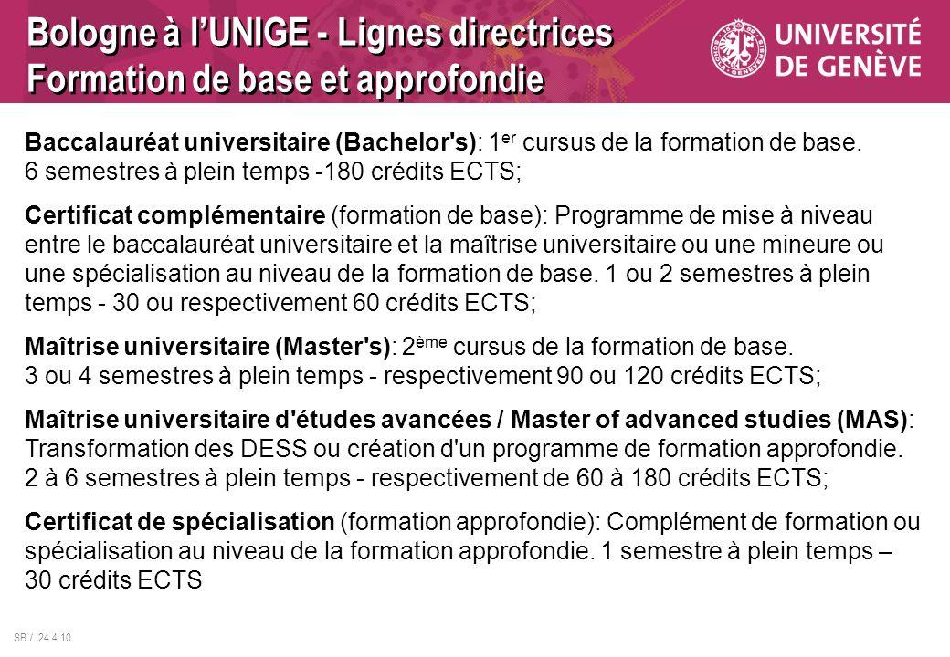 SB / 24.4.10 Bologne à lUNIGE - Lignes directrices Formation de base et approfondie Baccalauréat universitaire (Bachelor's): 1 er cursus de la formati
