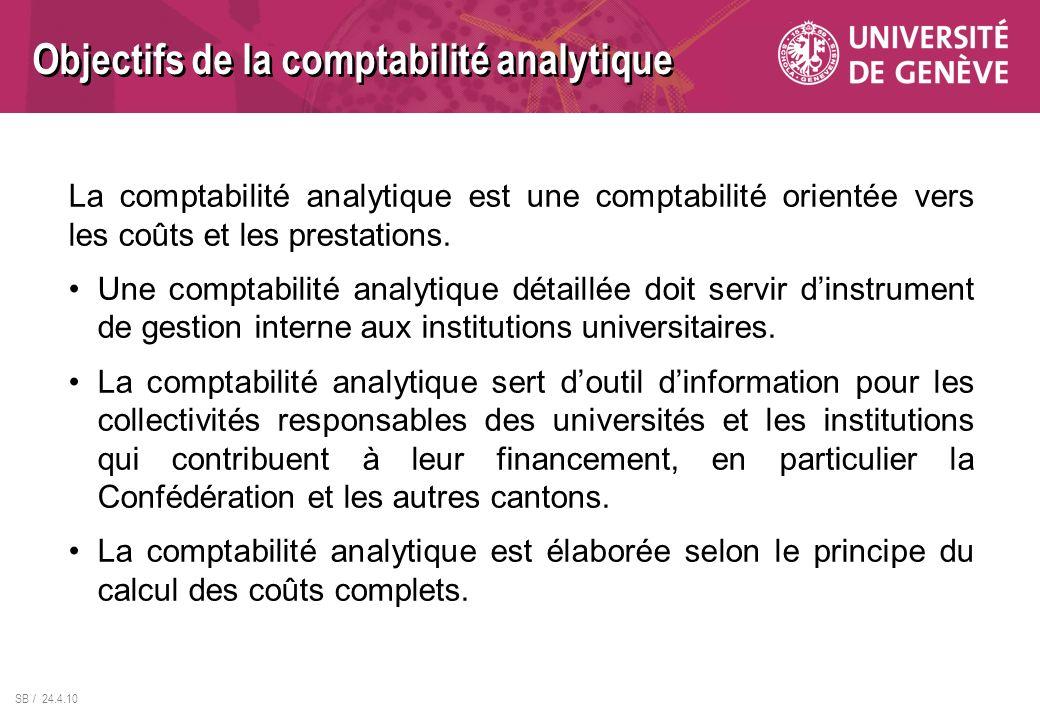 SB / 24.4.10 La comptabilité analytique est une comptabilité orientée vers les coûts et les prestations. Une comptabilité analytique détaillée doit se