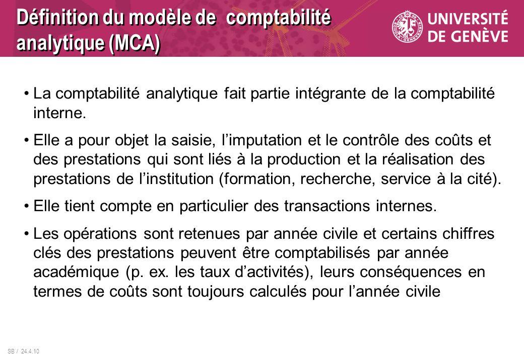 SB / 24.4.10 La comptabilité analytique fait partie intégrante de la comptabilité interne. Elle a pour objet la saisie, limputation et le contrôle des