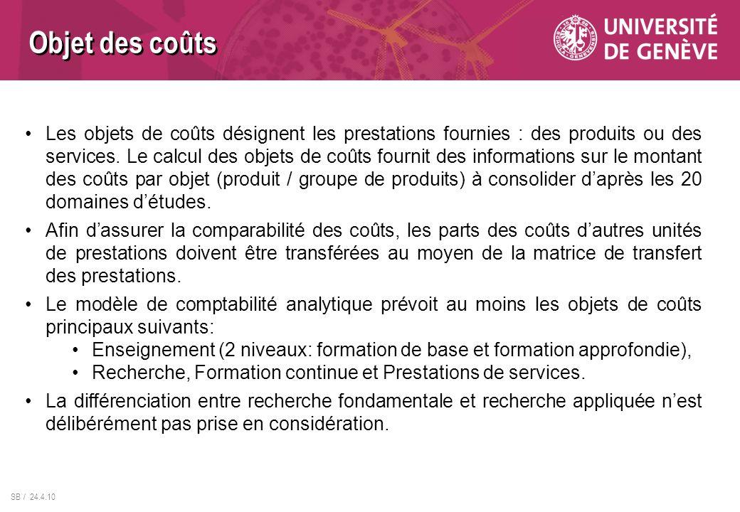 SB / 24.4.10 Les objets de coûts désignent les prestations fournies : des produits ou des services. Le calcul des objets de coûts fournit des informat