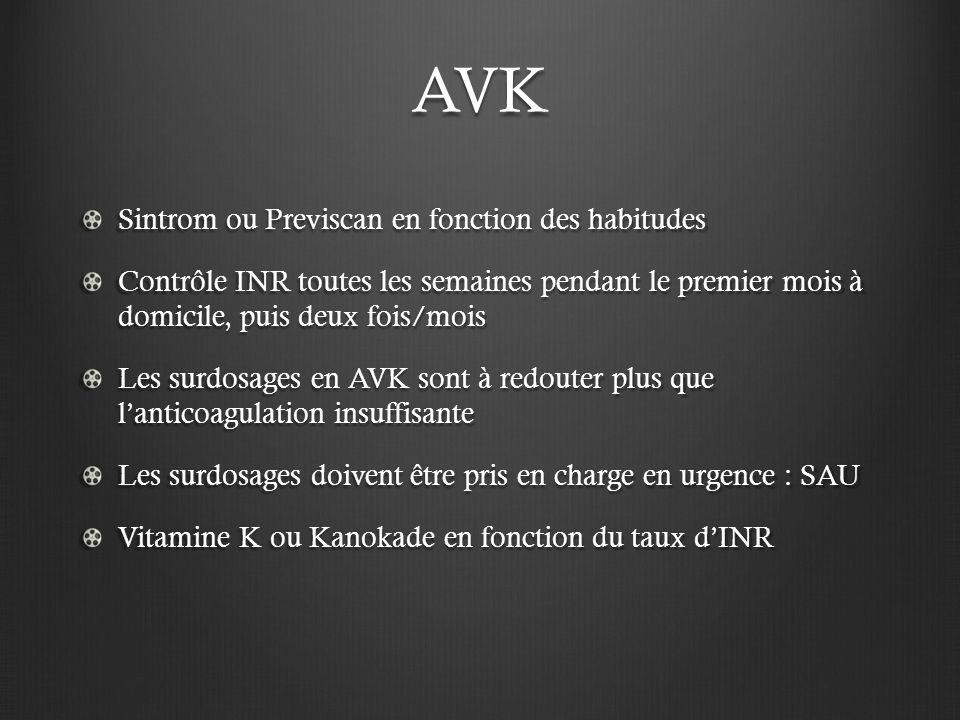 AVK Sintrom ou Previscan en fonction des habitudes Contrôle INR toutes les semaines pendant le premier mois à domicile, puis deux fois/mois Les surdos