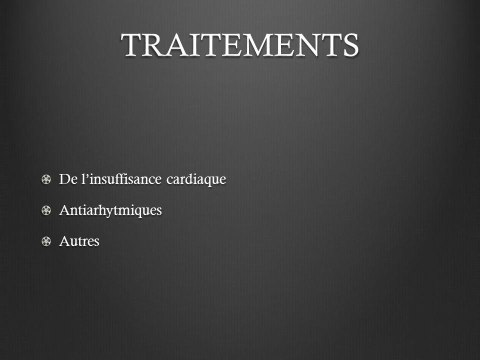 TRAITEMENTS De linsuffisance cardiaque AntiarhytmiquesAutres