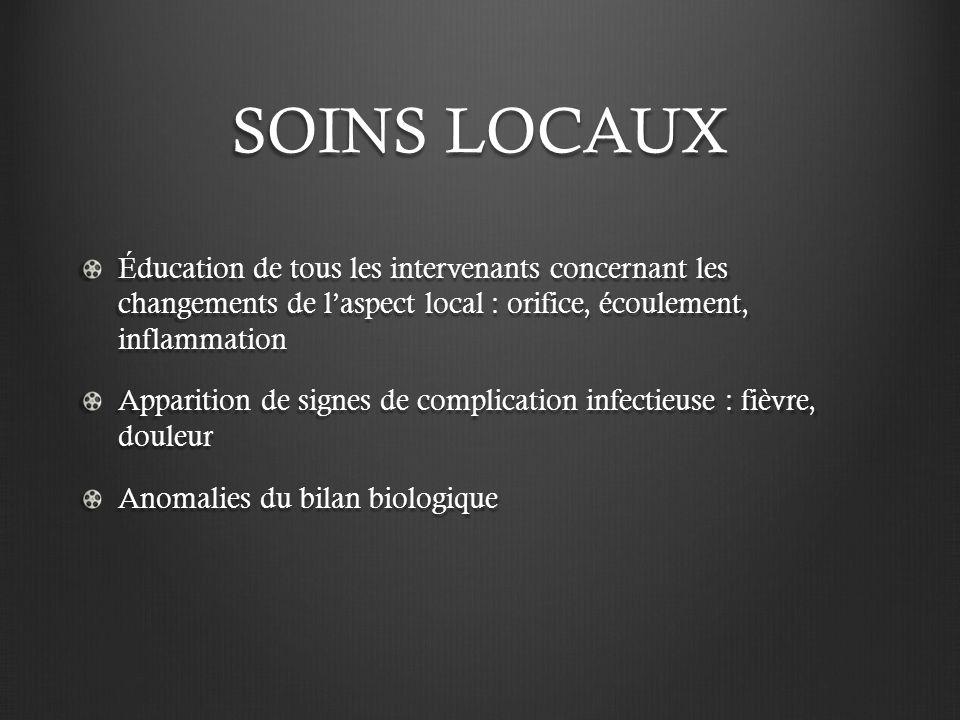 SOINS LOCAUX Éducation de tous les intervenants concernant les changements de laspect local : orifice, écoulement, inflammation Apparition de signes d