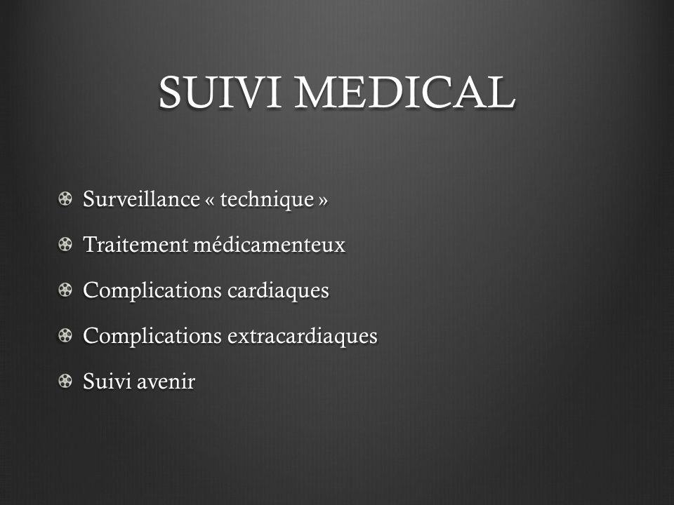 SUIVI MEDICAL Surveillance « technique » Traitement médicamenteux Complications cardiaques Complications extracardiaques Suivi avenir
