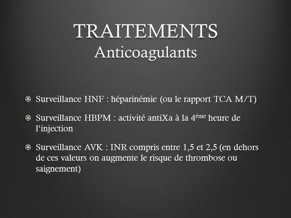 TRAITEMENTS Anticoagulants Surveillance HNF : héparinémie (ou le rapport TCA M/T) Surveillance HBPM : activité antiXa à la 4 ème heure de linjection S