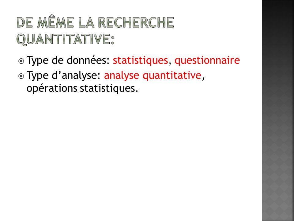 Type de données: statistiques, questionnaire Type danalyse: analyse quantitative, opérations statistiques.