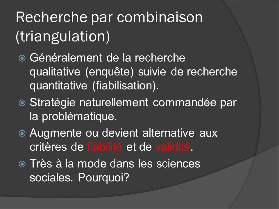 Recherche par combinaison (triangulation) Généralement de la recherche qualitative (enquête) suivie de recherche quantitative (fiabilisation).