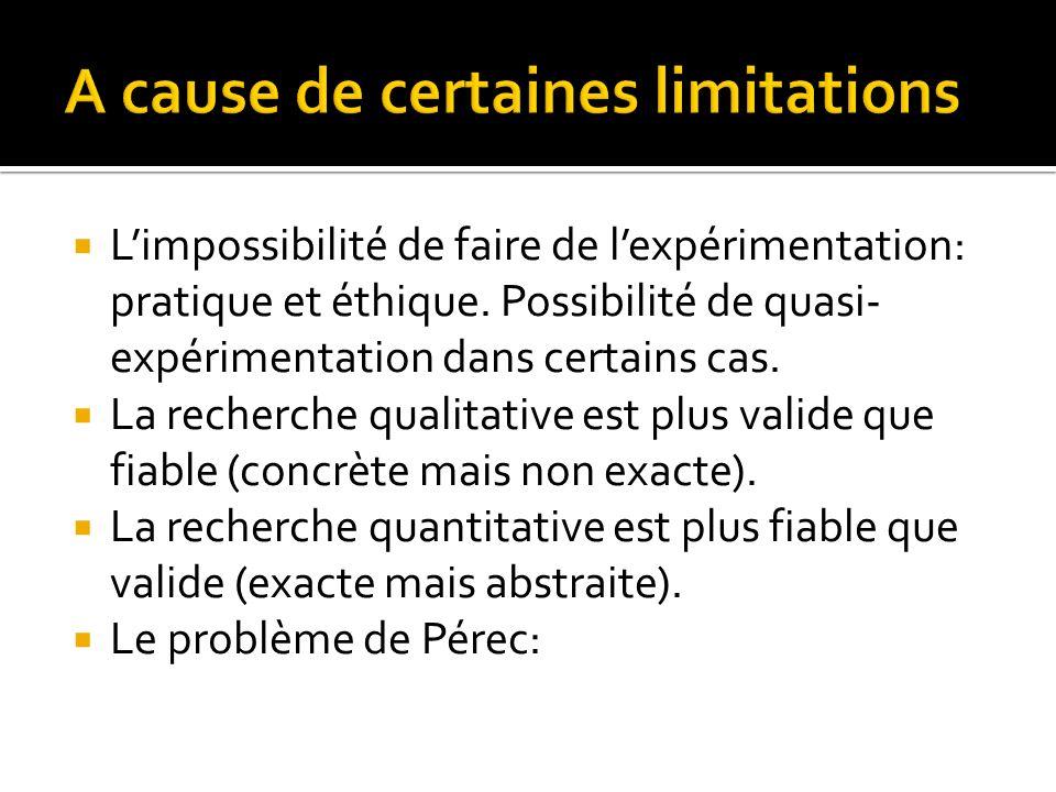Limpossibilité de faire de lexpérimentation: pratique et éthique.