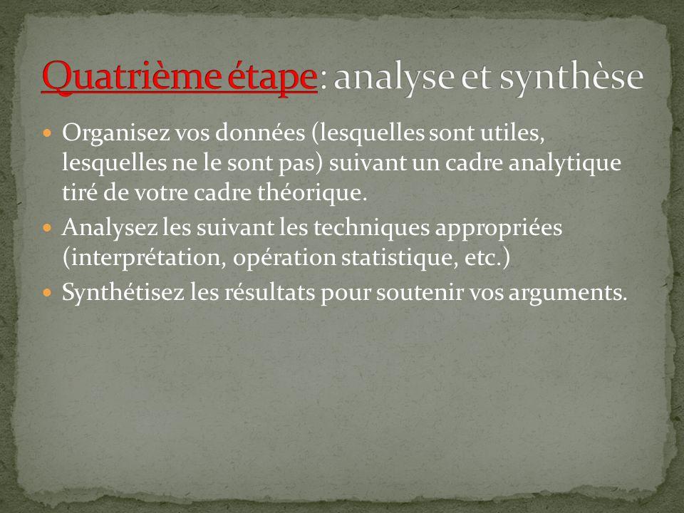 Organisez vos données (lesquelles sont utiles, lesquelles ne le sont pas) suivant un cadre analytique tiré de votre cadre théorique.
