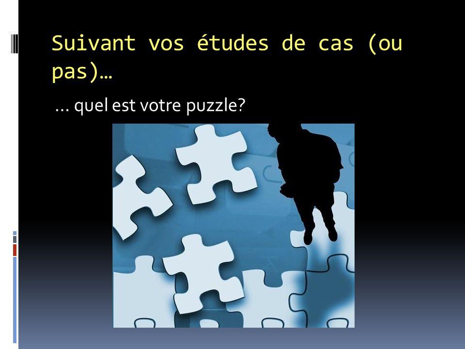 Suivant vos études de cas (ou pas)… … quel est votre puzzle?