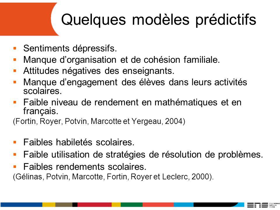 Quelques modèles prédictifs Sentiments dépressifs. Manque dorganisation et de cohésion familiale. Attitudes négatives des enseignants. Manque dengagem