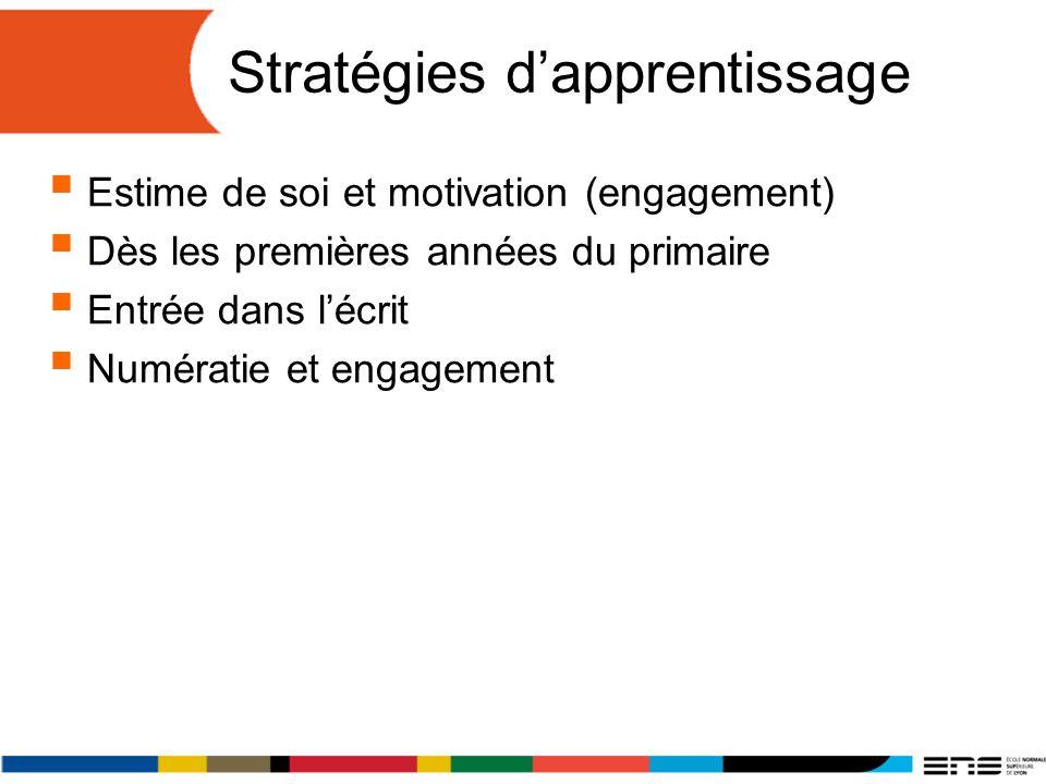 Stratégies dapprentissage Estime de soi et motivation (engagement) Dès les premières années du primaire Entrée dans lécrit Numératie et engagement