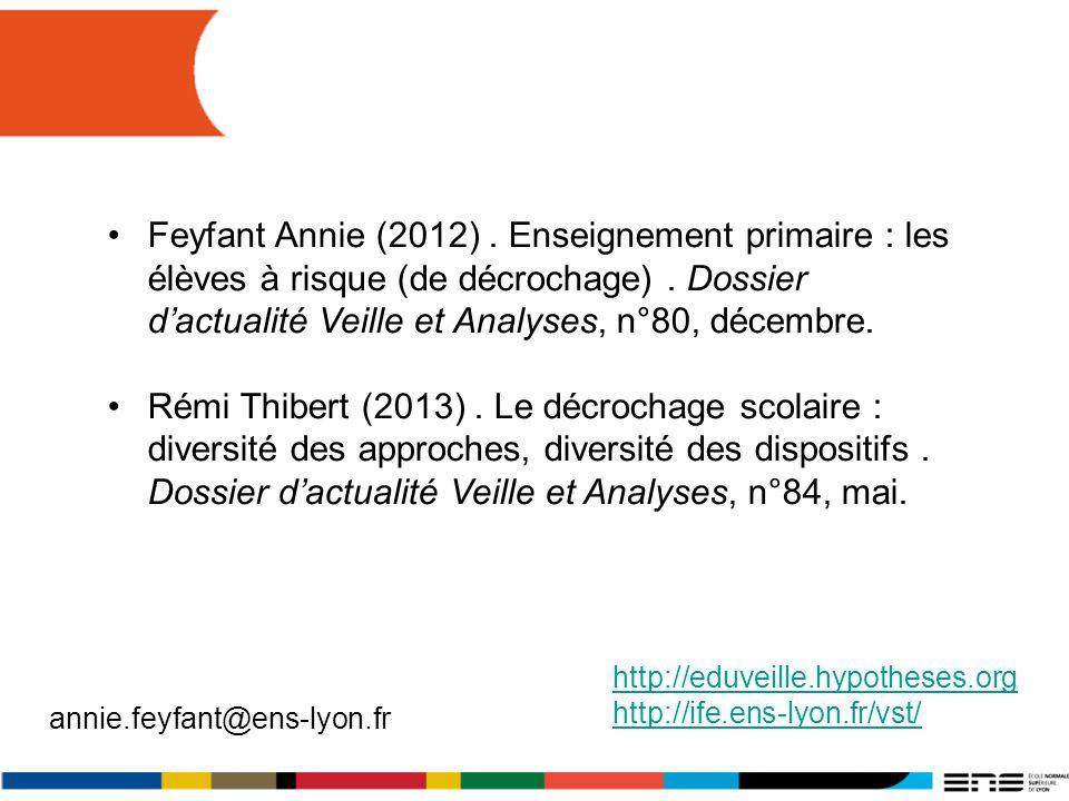 http://eduveille.hypotheses.orghttp://eduveille.hypotheses.org/ http://ife.ens-lyon.fr/vst/ annie.feyfant@ens-lyon.fr Feyfant Annie (2012). Enseigneme
