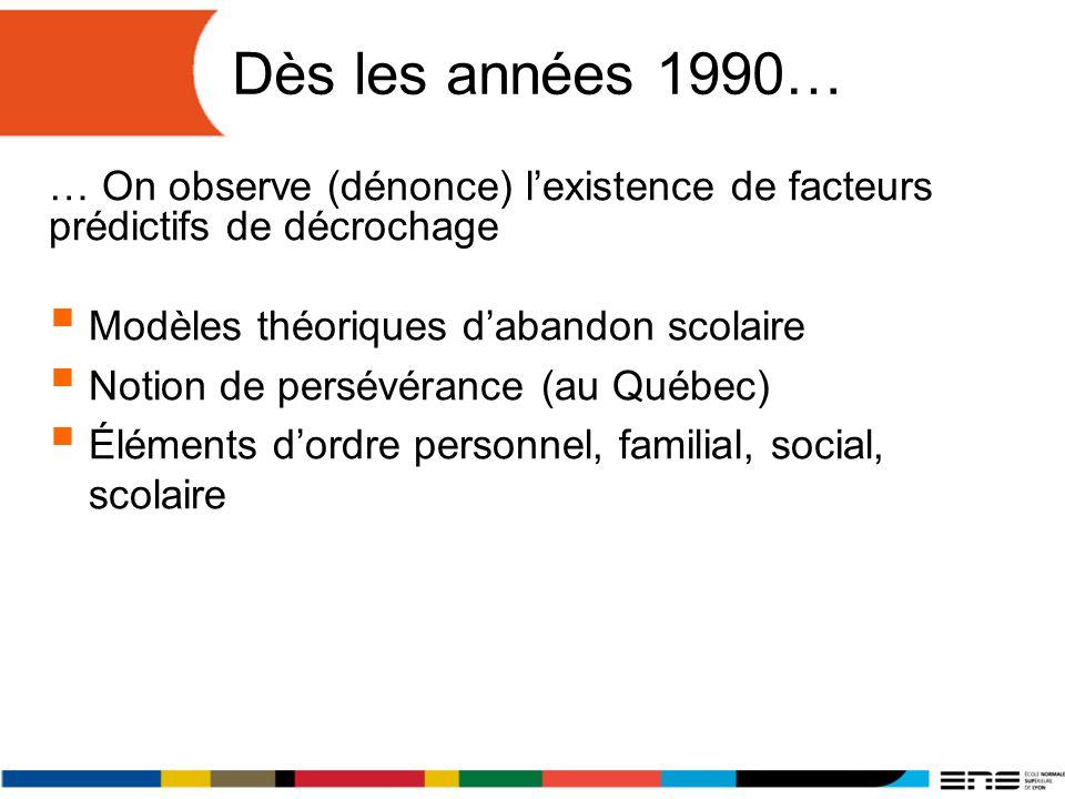 Dès les années 1990… … On observe (dénonce) lexistence de facteurs prédictifs de décrochage Modèles théoriques dabandon scolaire Notion de persévéranc