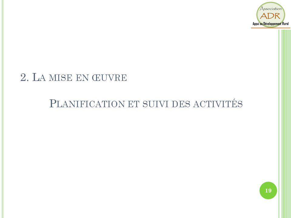 2. L A MISE EN ŒUVRE P LANIFICATION ET SUIVI DES ACTIVITÉS 19