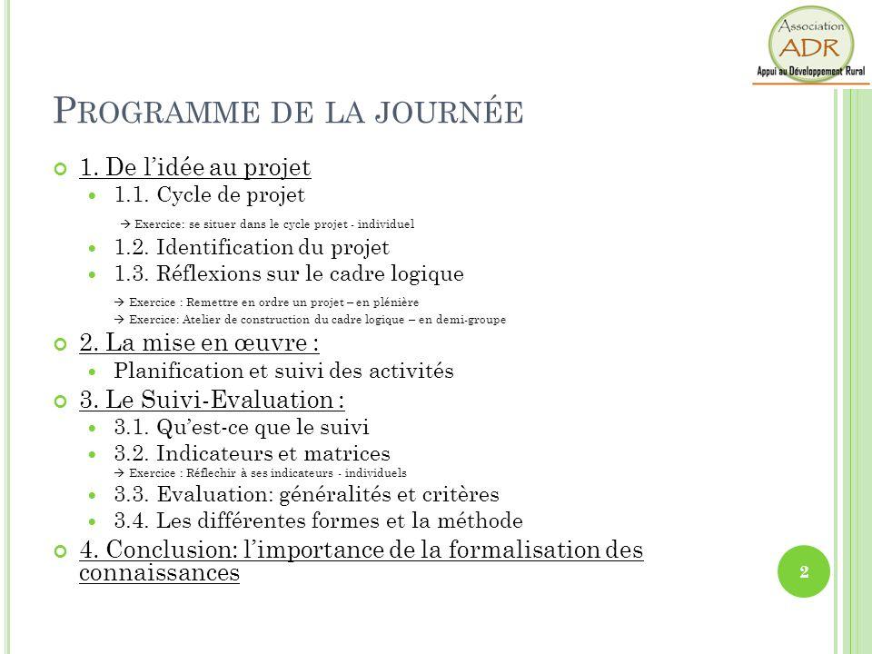P ROGRAMME DE LA JOURNÉE 1. De lidée au projet 1.1. Cycle de projet Exercice: se situer dans le cycle projet - individuel 1.2. Identification du proje