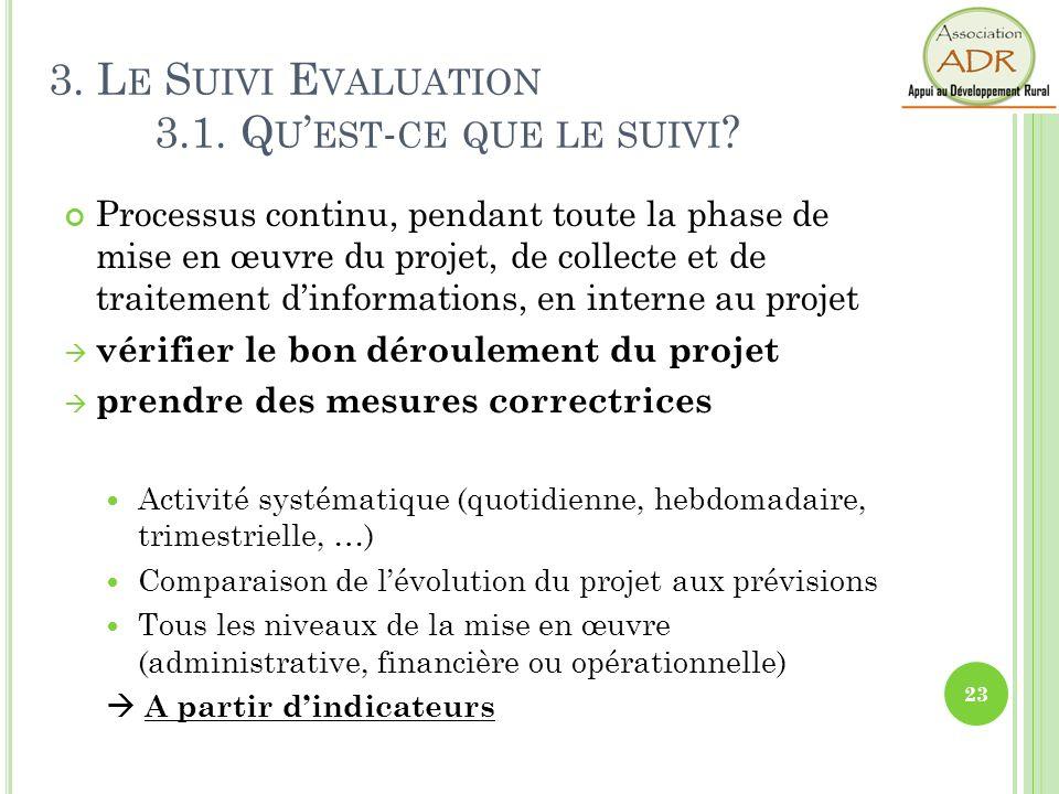 23 3. L E S UIVI E VALUATION 3.1. Q U EST - CE QUE LE SUIVI ? Processus continu, pendant toute la phase de mise en œuvre du projet, de collecte et de