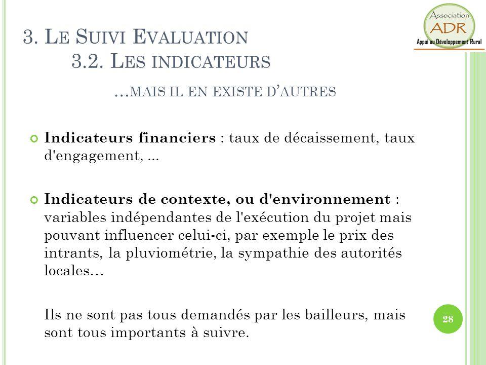 Indicateurs financiers : taux de décaissement, taux d'engagement,... Indicateurs de contexte, ou d'environnement : variables indépendantes de l'exécut