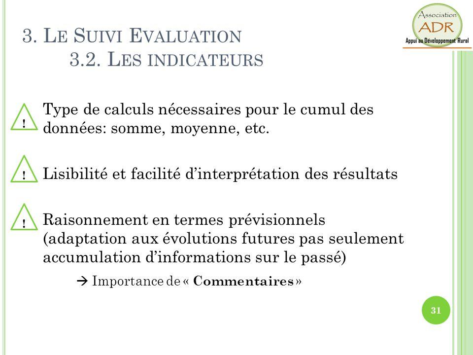 Type de calculs nécessaires pour le cumul des données: somme, moyenne, etc. Lisibilité et facilité dinterprétation des résultats Raisonnement en terme