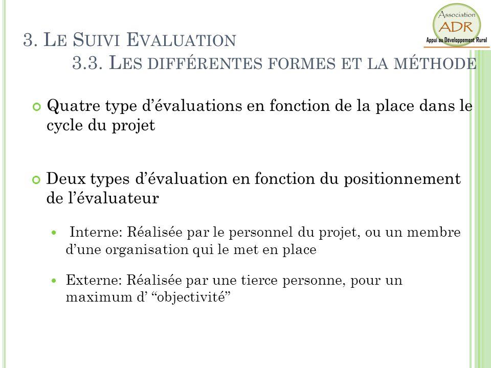 Quatre type dévaluations en fonction de la place dans le cycle du projet En début de cycle : Evaluation ex-ante Diagnostic initial, connaissance du mi