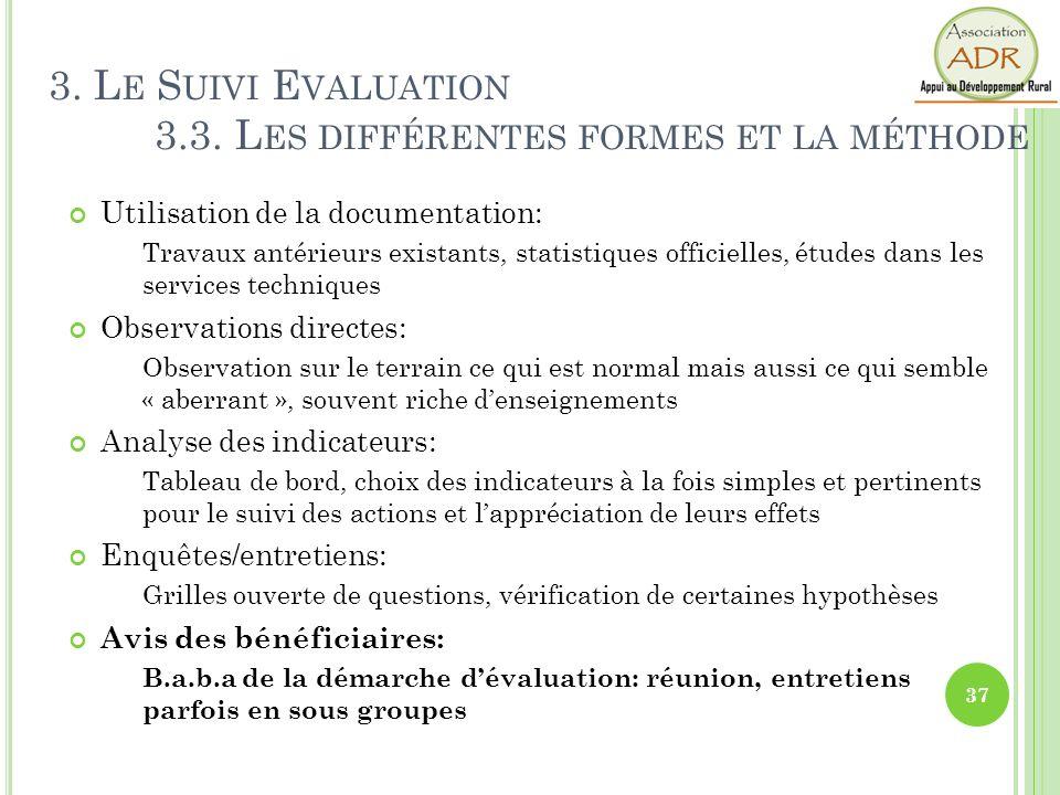 Utilisation de la documentation: Travaux antérieurs existants, statistiques officielles, études dans les services techniques Observations directes: Ob