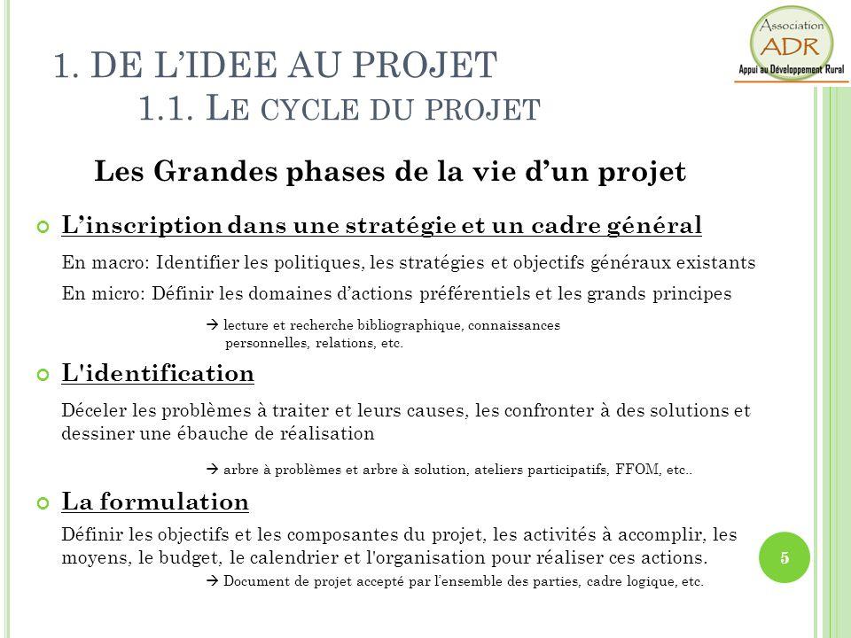1. DE LIDEE AU PROJET 1.1. L E CYCLE DU PROJET Les Grandes phases de la vie dun projet Linscription dans une stratégie et un cadre général En macro: I