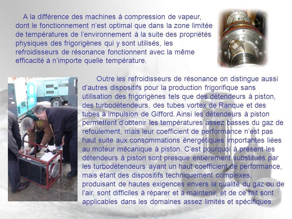 A la différence des machines à compression de vapeur, dont le fonctionnement nest optimal que dans la zone limitée de températures de lenvironnement à la suite des propriétés physiques des frigorigènes qui y sont utilisés, les refroidisseurs de résonance fonctionnent avec la même efficacité à nimporte quelle température.
