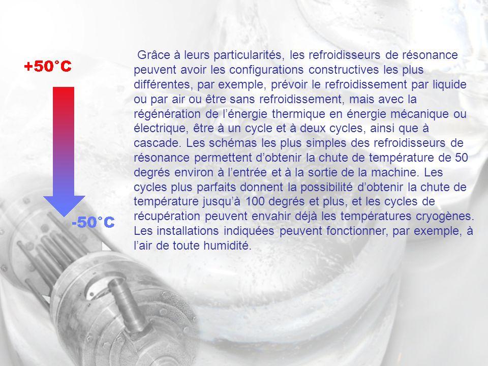 Grâce à leurs particularités, les refroidisseurs de résonance peuvent avoir les configurations constructives les plus différentes, par exemple, prévoir le refroidissement par liquide ou par air ou être sans refroidissement, mais avec la régénération de lénergie thermique en énergie mécanique ou électrique, être à un cycle et à deux cycles, ainsi que à cascade.