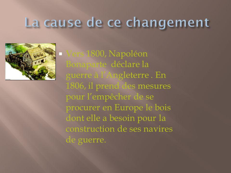 Vers 1800, Napoléon Bonaparte déclare la guerre à lAngleterre.