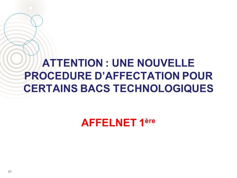 ATTENTION : UNE NOUVELLE PROCEDURE DAFFECTATION POUR CERTAINS BACS TECHNOLOGIQUES AFFELNET 1 ère 20