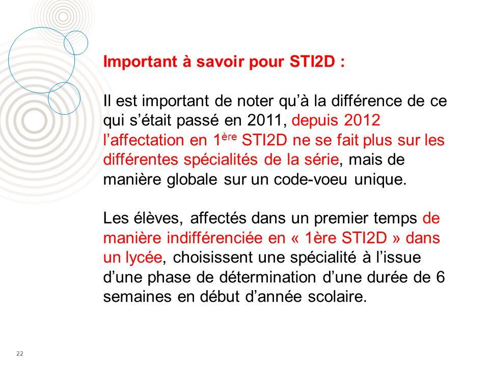 22 Important à savoir pour STI2D : Il est important de noter quà la différence de ce qui sétait passé en 2011, depuis 2012 laffectation en 1 ère STI2D ne se fait plus sur les différentes spécialités de la série, mais de manière globale sur un code-voeu unique.